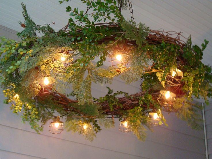 Grapevine Garland Decorating Ideas   Rustchic: Grapevine Wreath Chandelier