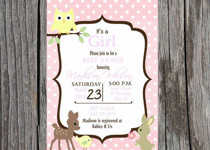 woodland creatures baby shower invitation by