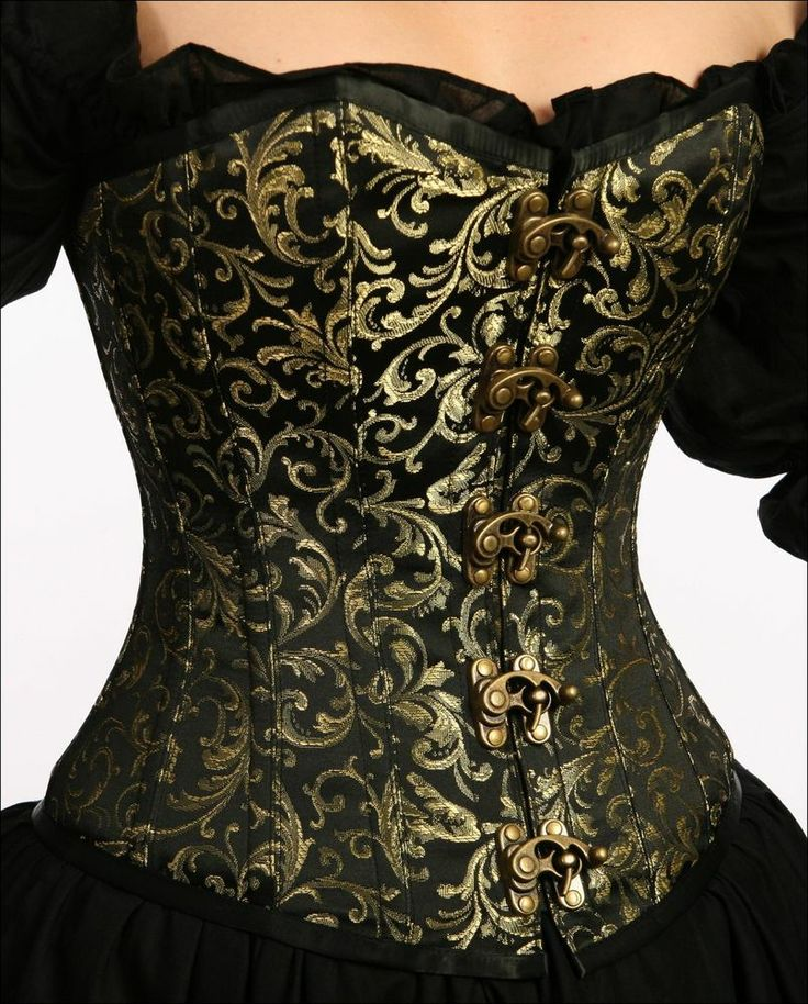 RENAISSANCE PIRATE COSTUME STEAM PUNK FAIR VICTORIAN WENCH BROCADE CORSET #Ac5-M