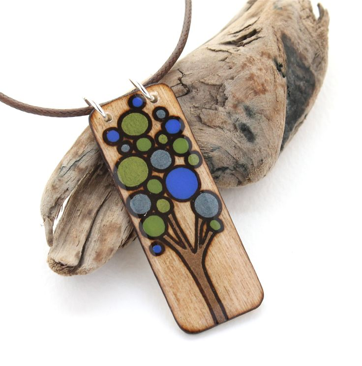 Rectangle Wood Tree Pendant Necklace, Blue, Green, Brown, Tree Jewelry, Wood…