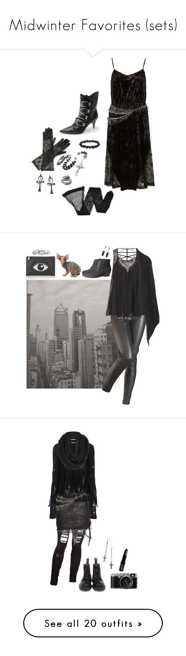 """Midwinter Favorites (sets)"" by void-witch ❤ liked on Polyvore featuring Max and Cleo, Topshop, Bjørg, Giorgio Armani, lace, goth, velvet, tradgoth, deathrock and Matthew Williamson"