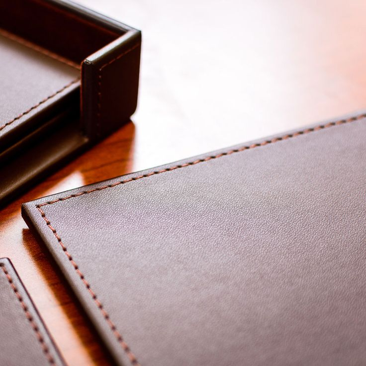 Brown Leatherette Conference Table Pad, With Stitching