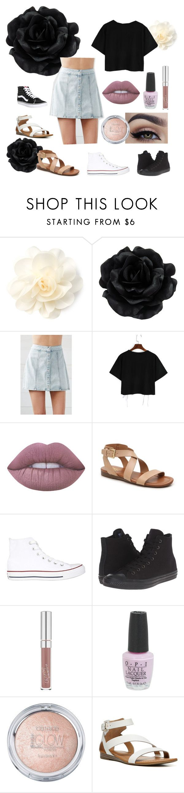 """Untitled #35"" by kiryn on Polyvore featuring Bullhead Denim Co., Lime Crime, Franco Sarto, Converse, OPI and Vans"