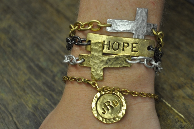 Make it an arm party! Hammered Cross with monogram charm bracelet along with a many hopes bracelet.