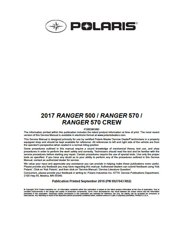 2017 Polaris Ranger 500/570 Crew/570 MIDSIZE Service Manual - Atv Service Manuals