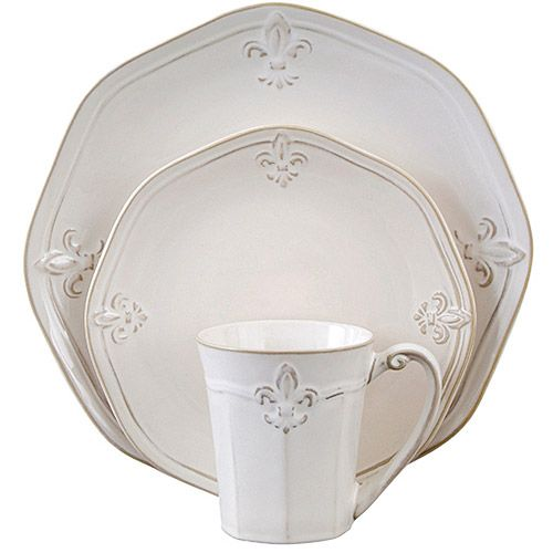 "Pretty cute for a cheap set. Better Homes and Gardens Country Crest 16-Piece Dinnerware Set, Cream Four 11"" (27cm) dinner plates Four 8.5"" (21cm) dessert plates Four 9"" bowls Four 14-oz (414mL) mugs Matching serve ware available Care Instructions: Dishwasher and microwave safe Material Content: Stoneware Color: Cream"