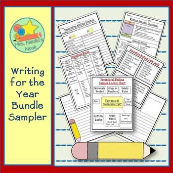 If you're planning to a full year writing program, this sampler contains some ideas to get you started.  This resource includes:  a writing organizer with sample ideas, sample narrative writing task cards, a descriptive warm-up, transitions word list, procedural writing sample anchor chart and specialty writing paper.