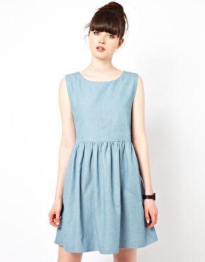 Image 1 ofThe WhitePepper Sleeveless Smock Dress in Denim