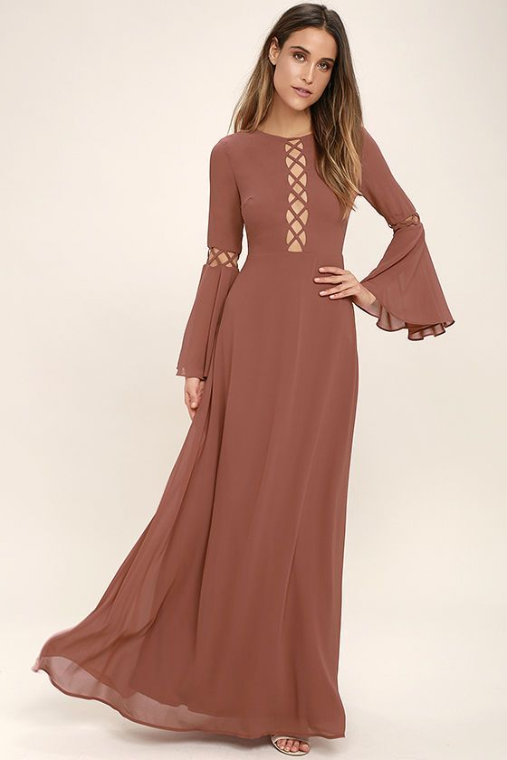Lulus Exclusive! The Fairest Maiden Rusty Rose Long Sleeve Maxi Dress will transport you to days gone by! Lightweight chiffon shapes a rounded neckline atop a darted bodice and long bell sleeves accented with eye-catching lattice detail. Full maxi skirt flows below a fitted waist. Back keyhole with top button.