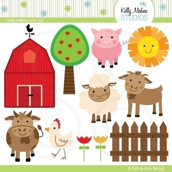 Farm Animals Clip Art - Digital Elements Commercial use for Cards, Stationery and Paper Crafts and Products. $5.00, via Etsy.