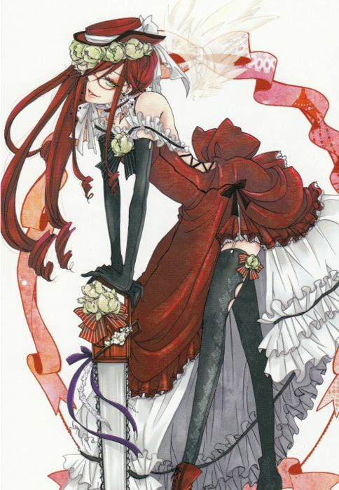 Grell Sutcliff-I swear to gosh he is the only male that can look 10x better than any girl in a dress.