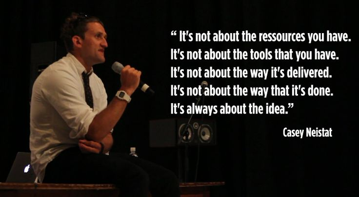 """Dont Worry About Your Gear, How DIY Filmmaker Casey Neistat Does It: """"Neistat got known for making a lot of short videos, on various and random topics, with a unique approach and, most importantly a DIY approach. He embraces restrictions and uses them to his benefit, doing systemically two things: filming as much as he can no matter the device, and working around an idea and not an aesthetic."""""""