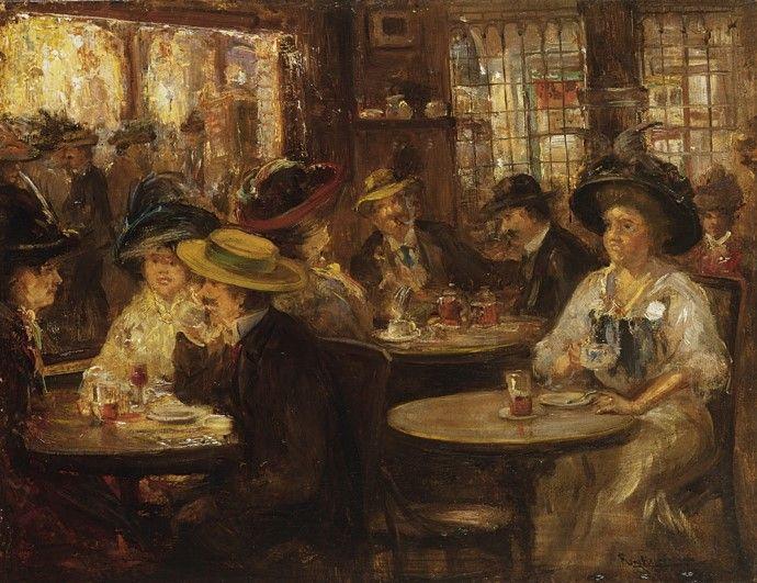 Franciscus Willem 'Frans Helfferich (Den Haag 1871-1941) Theeuurtje in 't Goude Hooft, Den Haag - Kunsthandel Simonis en Buunk, Ede (Nederland).