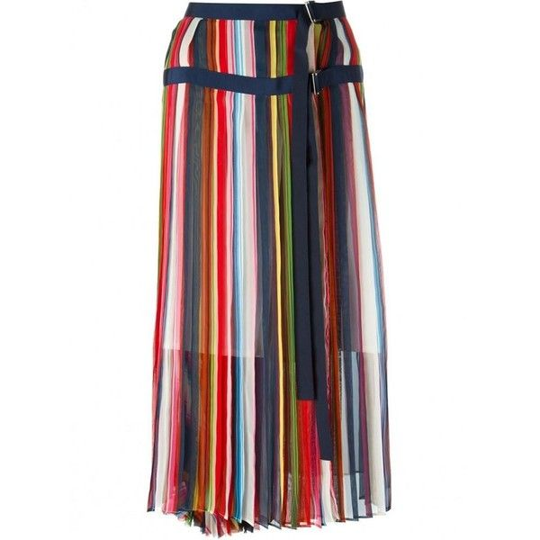 Sacai Multi Coloured Striped Midi Skirt (3,075 SAR) ❤ liked on Polyvore featuring skirts, pleated midi skirt, stripe midi skirt, multi color skirt, knee length pleated skirt and striped midi skirts