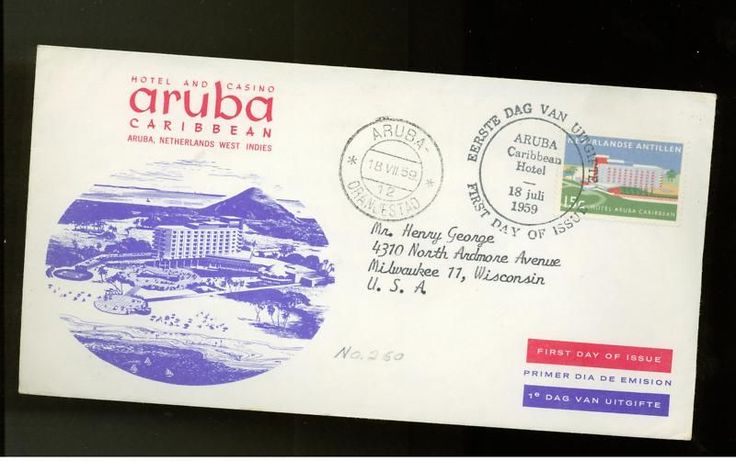 1959 Aruba Hotel and Casino First Day Cover FDC to USA.