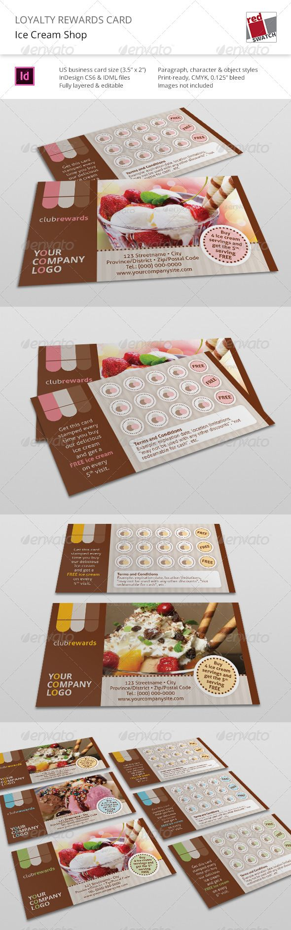 Loyalty Rewards Card - Ice Cream Shop Template #design #printdesign Download: http://graphicriver.net/item/loyalty-rewards-card-ice-cream-shop/6498561?ref=ksioks
