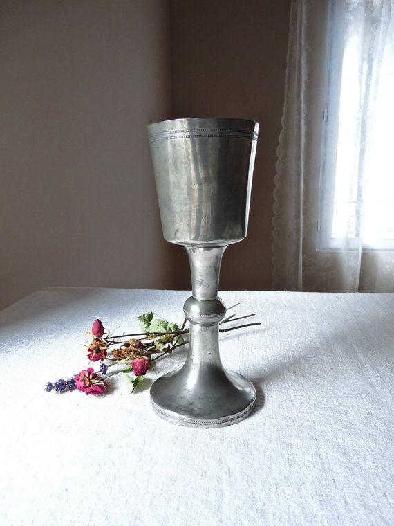 peltre antiguo de French - Francés antiguo lata - francés cáliz para la Misa - orar - cáliz católico de misa dominical - Misa del domingo-