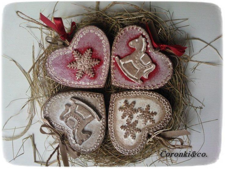 Zestaw 4 serduszek  świątecznych w Coronki&co. na DaWanda.com