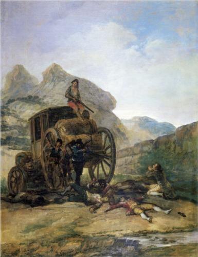 Ataque contra un coche  - Francisco de Goya