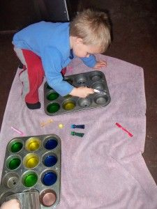 Water play with muffin tins:   Experimenting with color mixing and more...