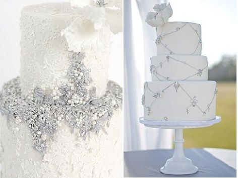 jewelled wedding cakes by Maggie Austin Cake Design left and by Sweet & Saucy right