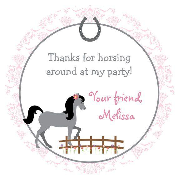 Horseback riding  Birthday Party Sticker -- horse party -  personalized birthday sticker --  favor tag, custom sticker