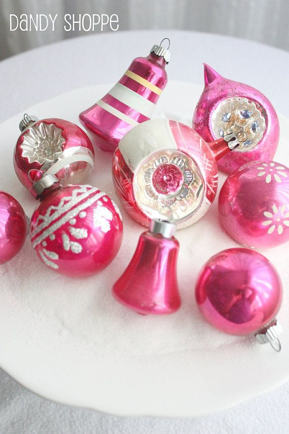 Shiny Brite Retro, Vintage Glass Christmas Ornaments, Pink Collection  More…
