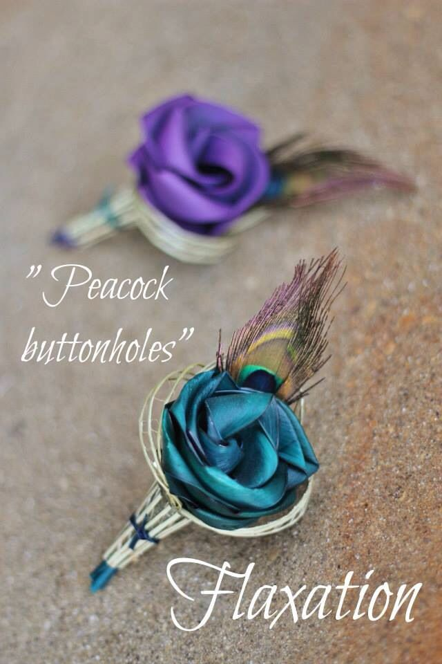 Peacock buttonholes by www.flaxation.co.nz