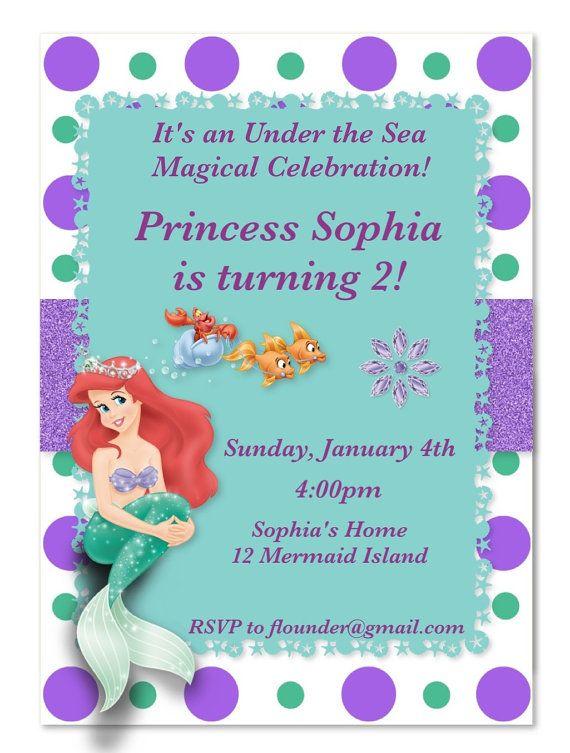 The Little Mermaid Ariel Customized Invitation by MyFashionLove, $5.00