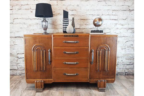 Antique Oak 1930s Art Deco Sideboard   Vinterior