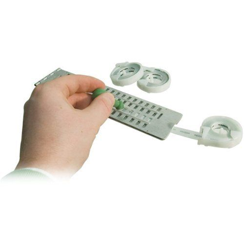 "Braille Slate Jumbo by MaxiAids. $15.95. Jumbo 4-line 18 cell slate. Can be used to Braille self adhesive vinyl labelling tapes measuring up to 3/8"" wide. Great for marking household items. Built-in slot for easily threading tapes. Includes stylus. Made of metal. Measures 9"" Long x 2-1/4"" Wide.   Note: Labeling tape not included. Tape may be purchased separately - see Related Items below."