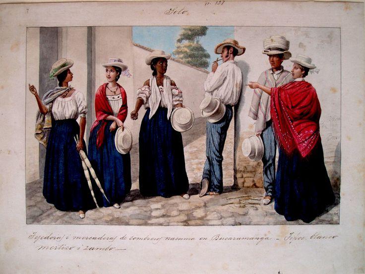 """Tejedoras y mercaderas de sombreros nacuma en Bucaramanga. Tipos blanco mestizo i zambo. Soto"". Carmelo Fernández, 1850. BNC, 5118."