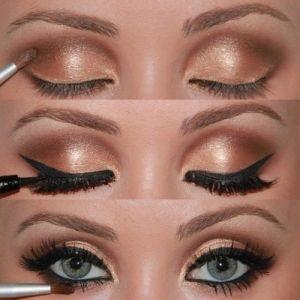 eye makeup - Golden Smokey Eyes