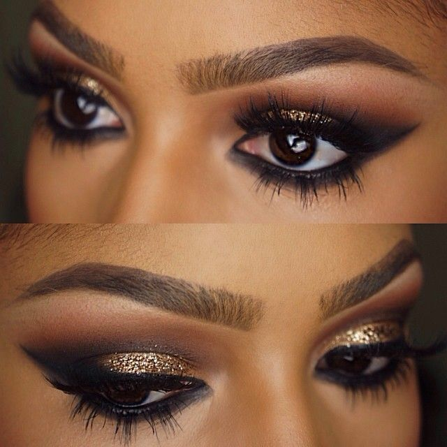 """Gold glitter and lashes✨ @anastasiabeverlyhills """"chocolate"""" dip brow pomade. @MACcosmetics """"uninterrupted"""" and @LORAC Cosmetics sable and black in the crease. @LORAC Cosmetics gold eyeshadow on the lid with @eyekandycosmetics """"sugar cane"""" glitter on top. @flutterlashesinc """"Natalie"""" lashes"""