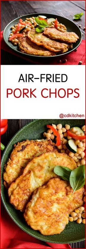Air-Fried Pork Chops - Recipe is made with cayenne pepper, black pepper, salt, pork loin chops, Dijon mustard, bread crumbs | CDKitchen.com
