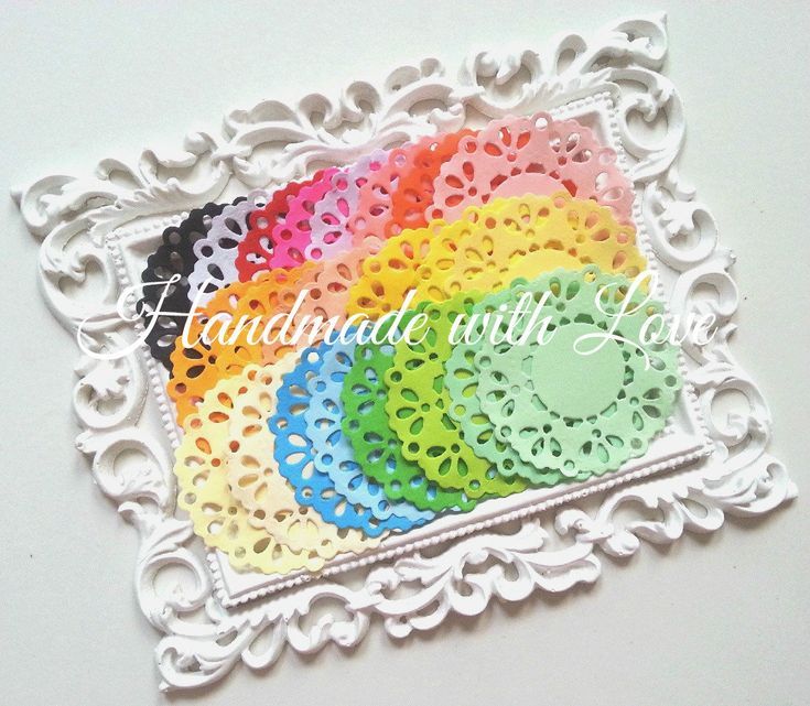 2.3 inches Rainbow Paper Doilies, 1 pack of 24 color. Perfect for anything from cards to scrapbook, or decoration. by PaperCraftwithLove on Etsy