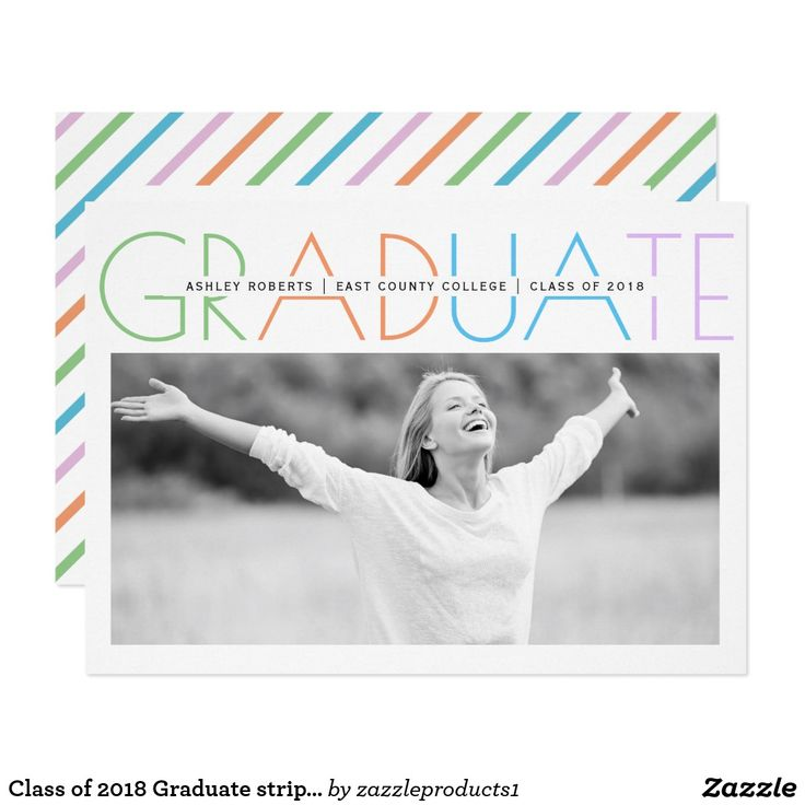 Class of 2018 Graduate stripes graduation photo card