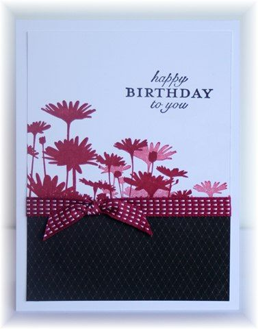 handmade birthday card ... like this layout and use of the Upsey Daisy stamp ... Stampin' Up!