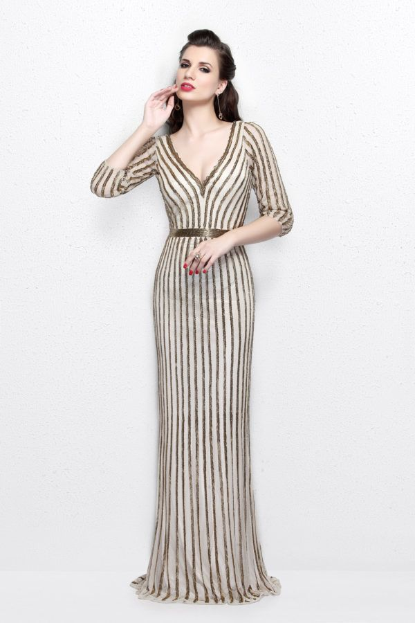 Primavera Couture - Quarter Sleeves V-Neck Stripes Long Dress 1758 in Nude
