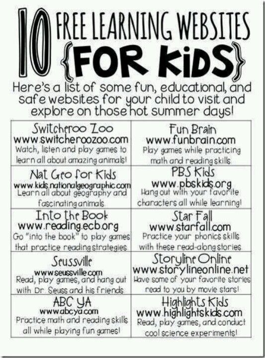 This looks like a great parent handout for open house or back to school night!  These sites would also make an educational behavior incentive for during computer lab.