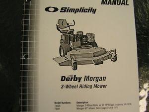 Simplicity Derby Morgan 3 Wheel Riding Mower Parts Manual