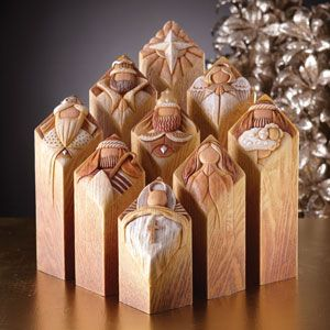"""Pillars of Heaven.   A contemporary interpretation of the Nativity, this 9 piece set includes Baby Jesus, Mary, Joseph, the Three Kings, a Shepherd, an Angel, and the Northern Star. Each has part of the nativity story written along the side telling of the Birth of Jesus.  Size: 6"""" wide x 1"""" high"""