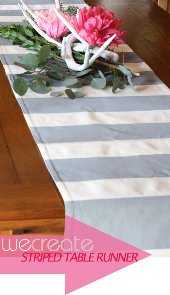 DIY striped table runner-use painter's tape, a plain canvas or burlap runner & acrylic or fabric paint in the color of your choice. Make sure you let the paint dry fully before peeling the tape.