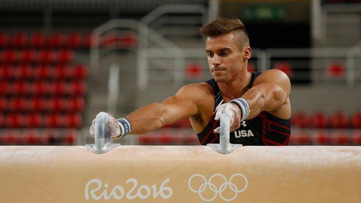 Sam Mikulak on pommel horse at Rio Olympics podium training