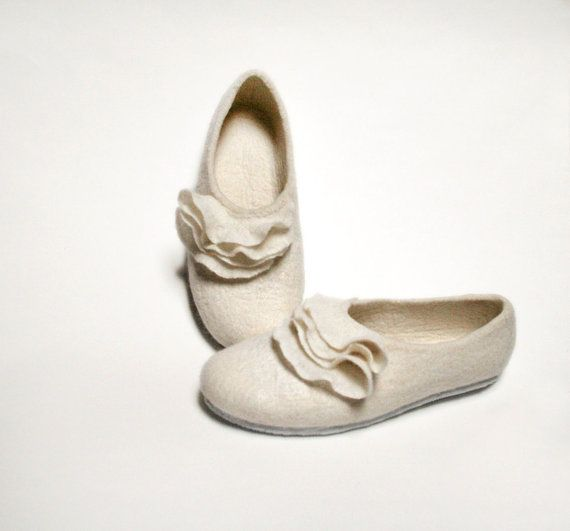 Felted slippers white wool clogs  wedding summer by vilnone, $68.00