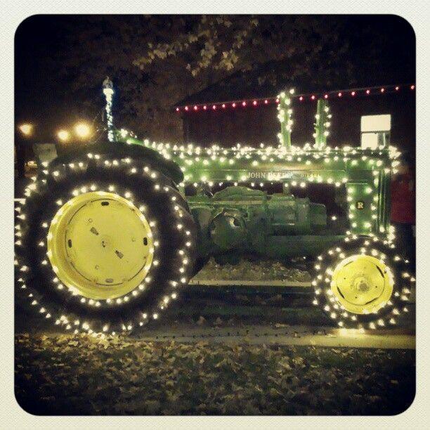 John Deere with lights   ~*Tour of Lights*~   Christmas, Country christmas, Christmas  lights - John Deere With Lights ~*Tour Of Lights*~ Christmas, Country