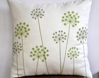 queen anne's lace embroidery pillow