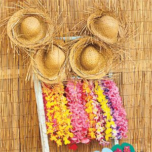 Great idea for when your guests arrive.  Each can pink a straw hat and lei.