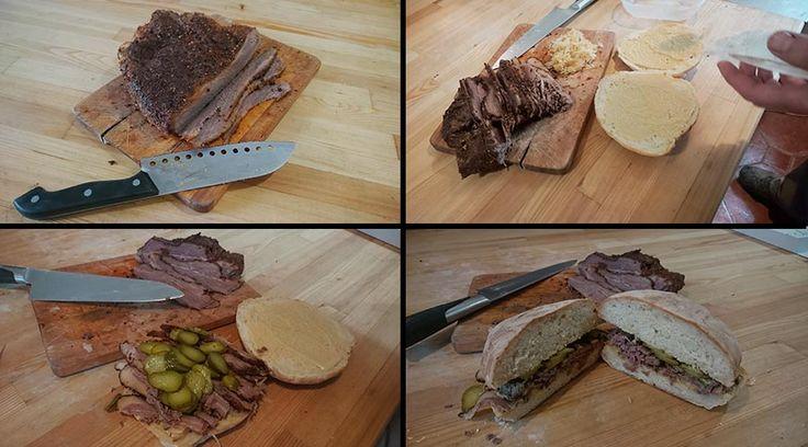 Reuben Sandwich V grilu pečena houska,hovězi pastrami, kyselé zelí, kyselá okurka, hořčice