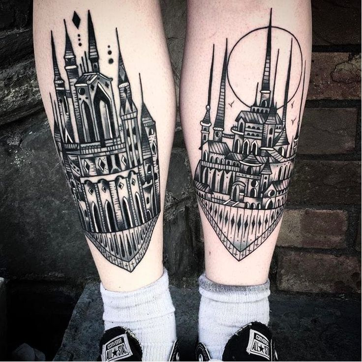 Black cityscape tattoos by Saschi McCormack traditional building city blackwork SaschiMcCormack